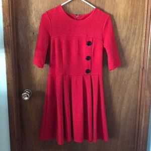 ASOS Red pleated skater dress 6 Modcloth